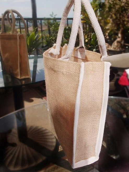 "Wholesale Burlap Tote Bags, Jute Tote with White Cotton Trim 10 1/4"" W x 9"" H x 3"" Gusset, B874-71"