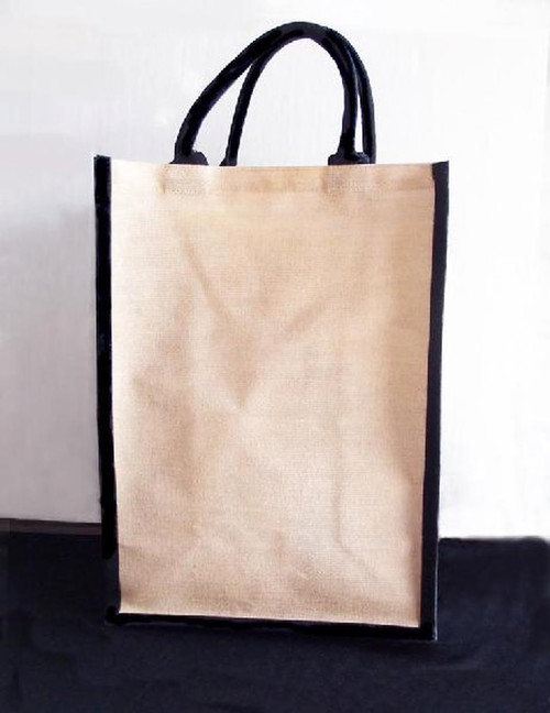 Jute Blend Tall Tote with Black Trim 13 x 18 x 8 inches, Wholesale Tote Bags | Packaging Decor
