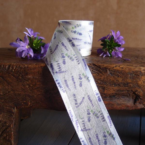 Lavender Floral Print Faux Linen Ribbon with Satin Edge