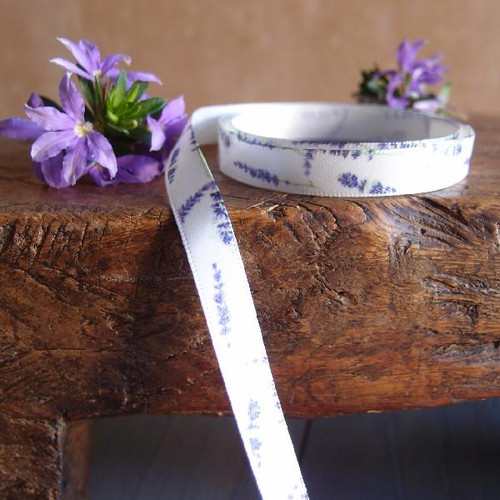 Lavender Floral Print Satin Ribbon (5 sizes)