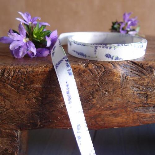 Lavender Floral Print Satin Ribbon (5 sizes)