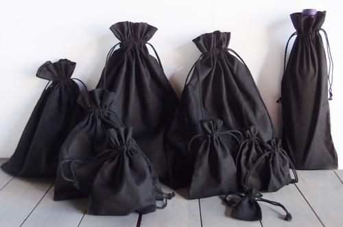 Black Cotton Drawstring Bags, Wholesale Black Drawstring Bags | Packaging Decor