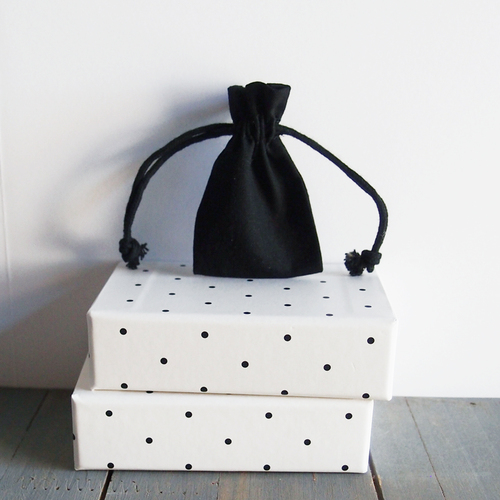 Black Cotton Drawstring Bags 2 x 3 inches, Wholesale Black Drawstring Bags | Packaging Decor