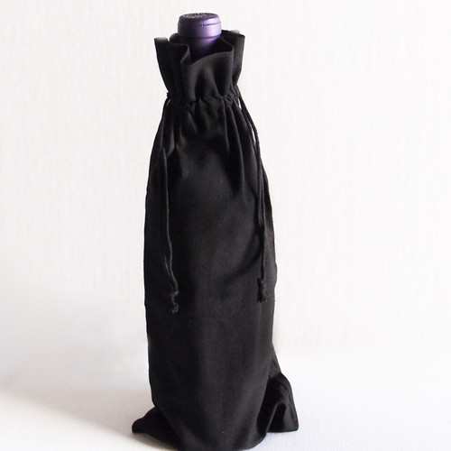 "Black Cotton Wine Bag  6"" x 14"""