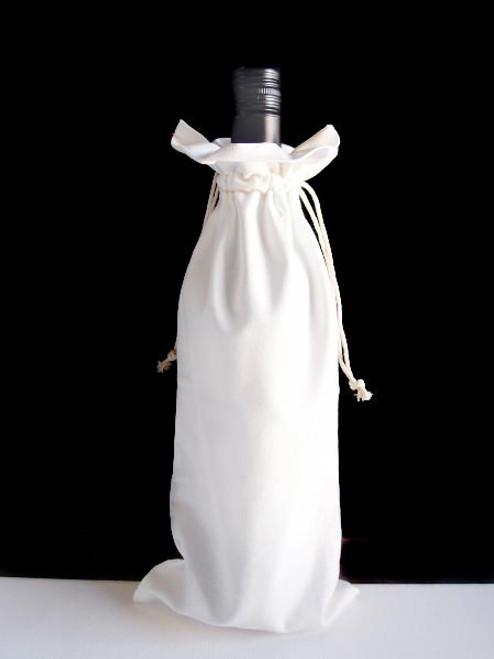 "White Cotton Wine Bag with Ivory Stitching 6"" x 14"""