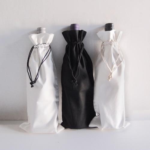 "White Cotton Wine Bag with Black Drawstring 6"" x 14"""