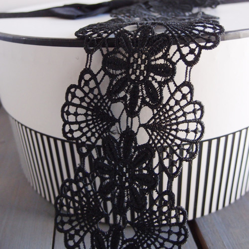 Embroidery Floral Lace Ribbon Black
