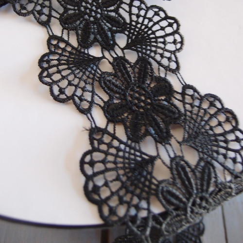 Embroidery Floral Lace Ribbon - Black