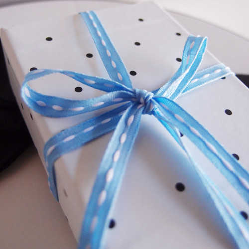 Light Blue  with White Center Stitch Grosgrain Ribbon