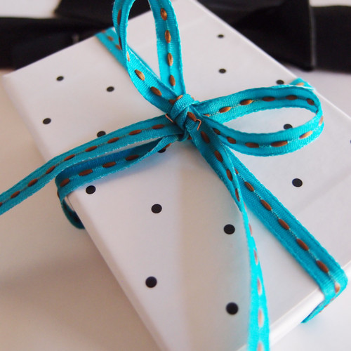 Turquoise with Chocolate Center Stitch Grosgrain Ribbon