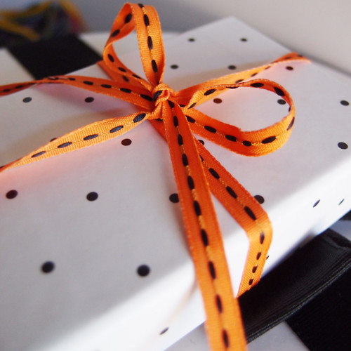 Orange with Black Center Stitch Grosgrain Ribbon