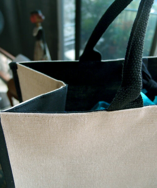 Jute Cotton Blend Tote with Black Cotton & Burlap Accents