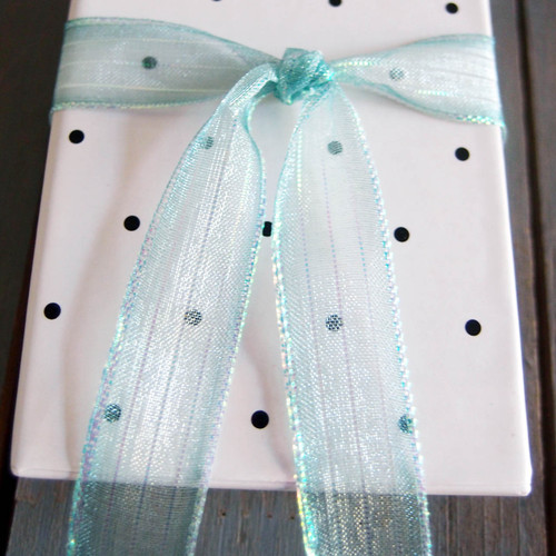 Teal Sheer Shimmery Corsage Ribbon (2 sizes)