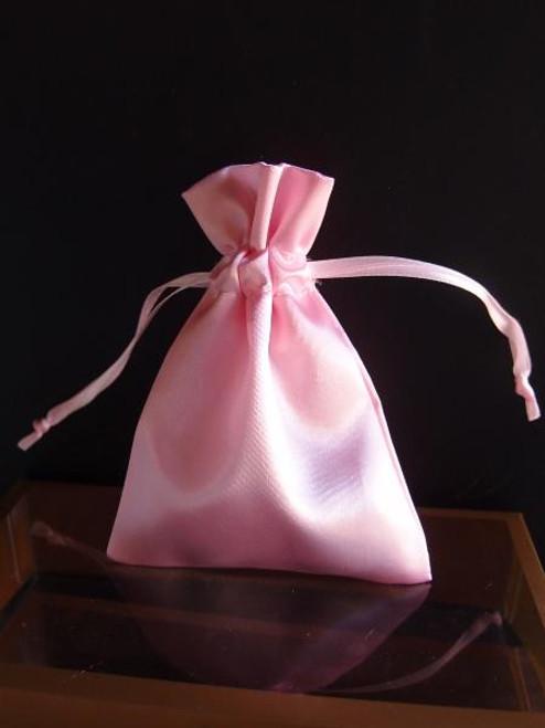 Pink Satin Bag with Satin Ribbon String (2 sizes)