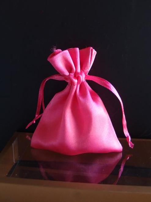 Hot Pink Satin Bag with Satin Ribbon String (2 sizes)