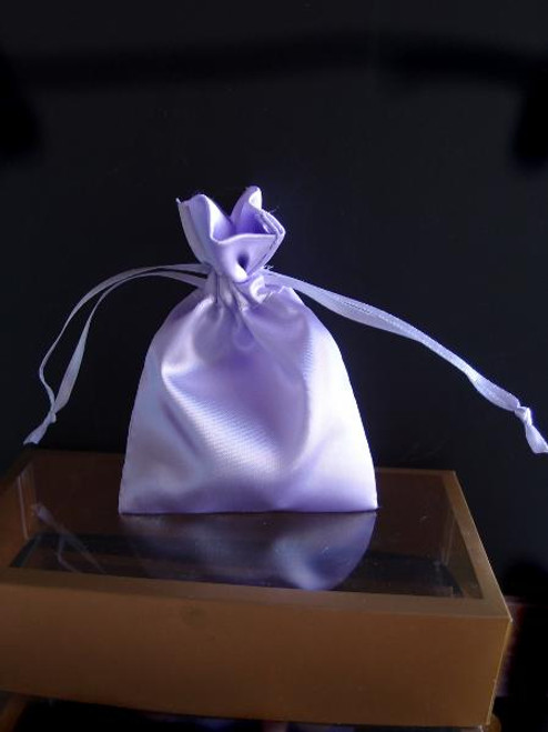 Lavender Satin Bag with Satin Ribbon String (2 sizes)