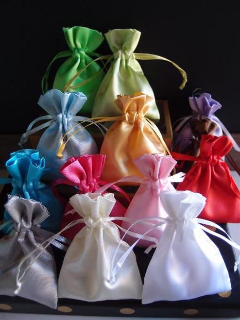 Silver Satin Bag with Satin Ribbon String (2 sizes)
