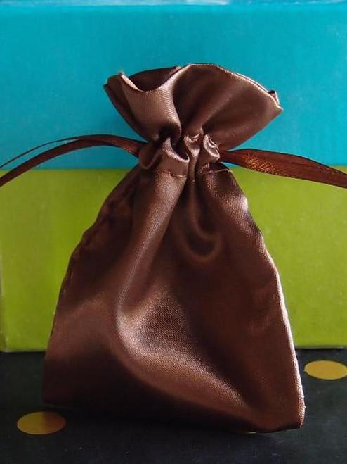 Dark Brown Satin Drawstring Bag, B180-91 and B181-91. Two sizes available. Wholesale Satin Drawstring Bags | Packaging Decor