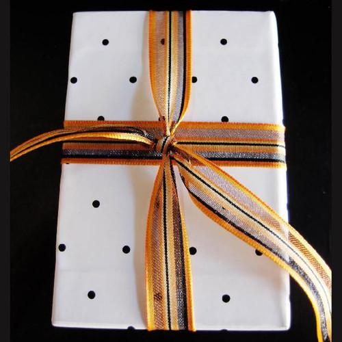 Orange-Black-Yellow Multi-Stripes Sheer Ribbon