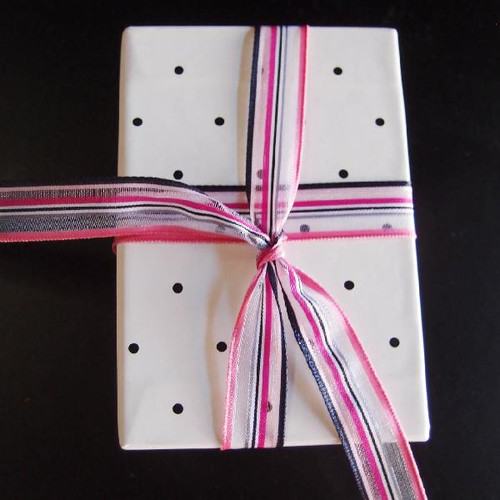 Pink-Hot Pink-White Multi-Stripes Sheer Ribbon