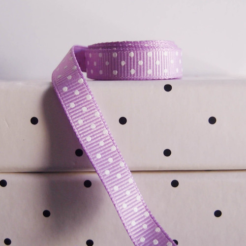 Lavender Grosgrain with Swiss Dots