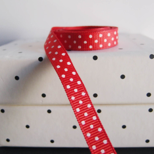 Red Grosgrain with Swiss Dots
