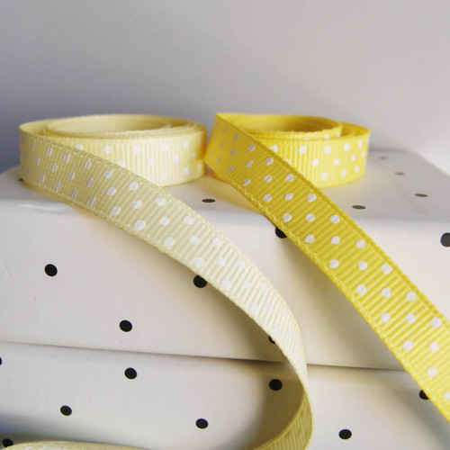Yellow Grosgrain with Swiss Dots