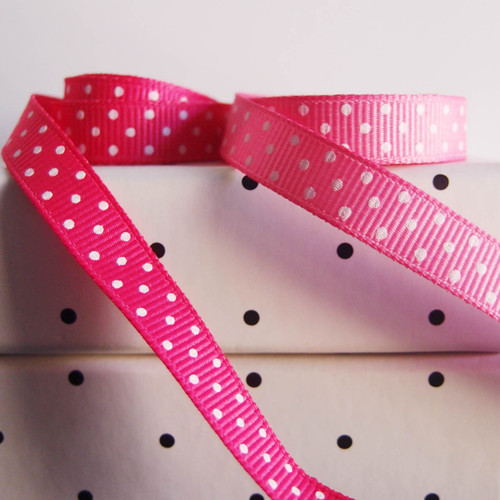 Shocking Pink Grosgrain with Swiss Dots