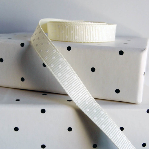 Ivory Grosgrain with Swiss Dots