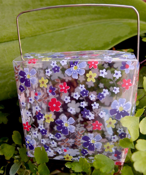 "2 3/4""x2""x2 1/2"" Takeout Box-Purple/Red Floral"