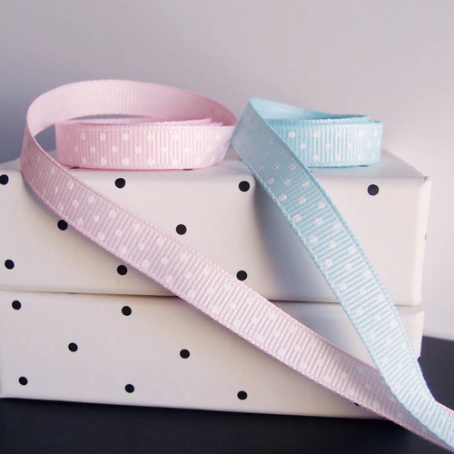 Light Blue Grosgrain with Swiss Dots