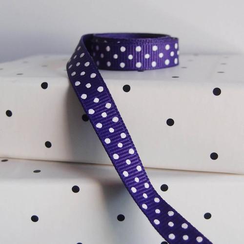Purple Grosgrain with Swiss Dots