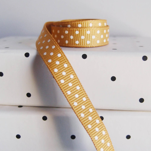 Gold Grosgrain with Swiss Dots