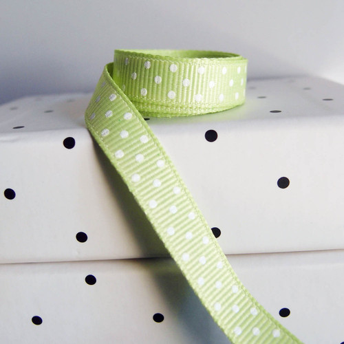 Lime Grosgrain with Swiss Dots
