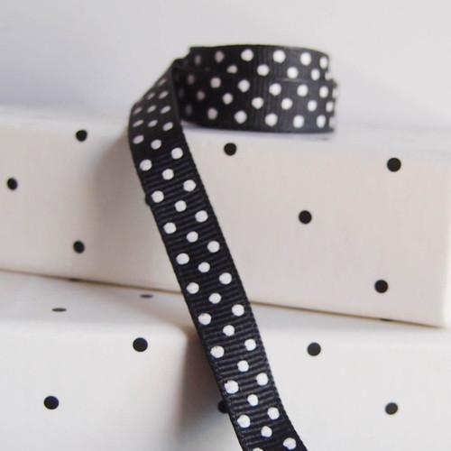 Black Grosgrain with Swiss Dots