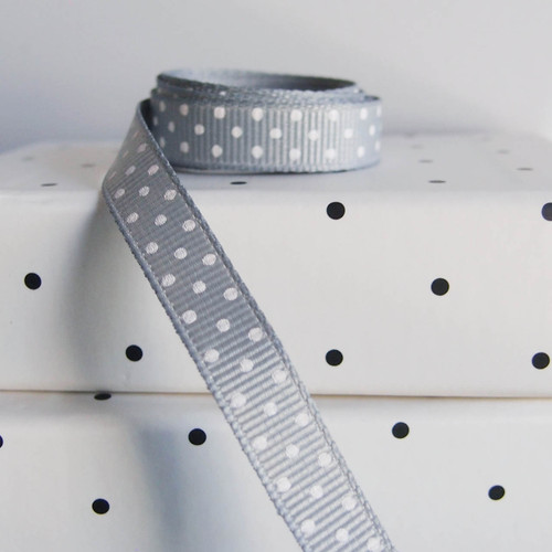 Silver Grosgrain with Swiss Dots