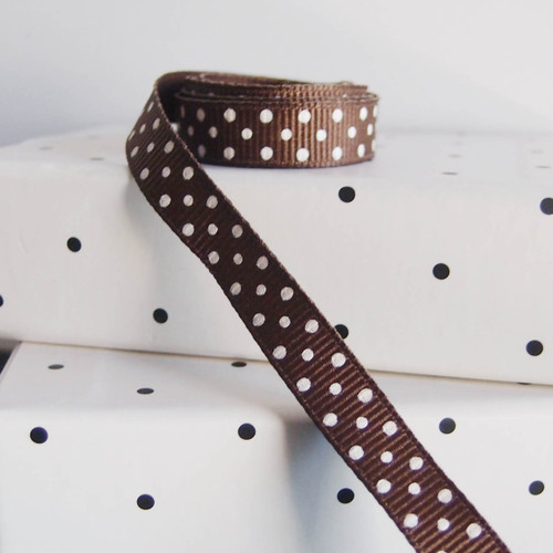 Chocolate Grosgrain with Swiss Dots