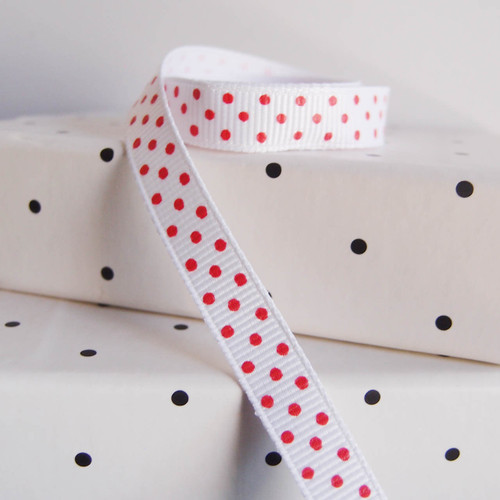 White Grosgrain with Red Swiss Dots