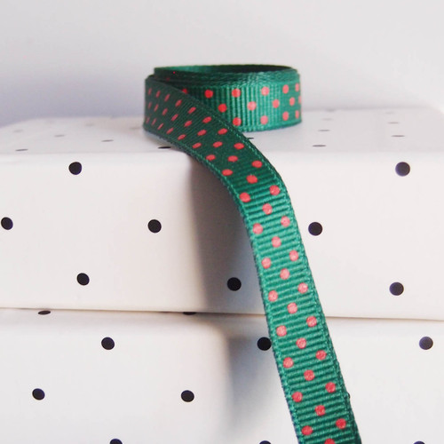 Hunter Green Grosgrain with Red Swiss Dots
