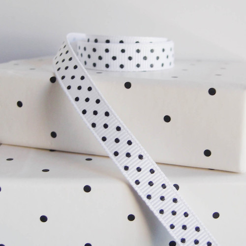 White Grosgrain with Black Swiss Dots