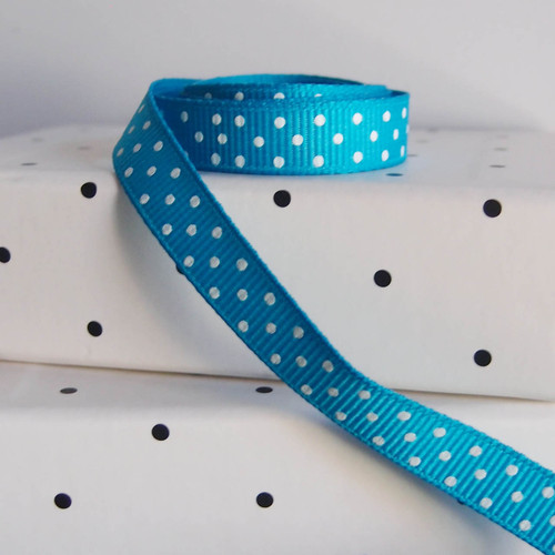 Turquoise  Grosgrain with Swiss Dots