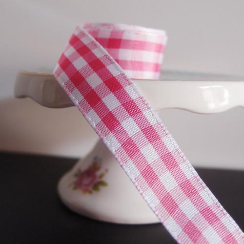 Pink & White Gingham Checkered Ribbon