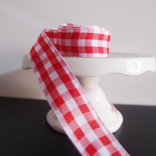 Red & White Gingham Checkered Ribbon