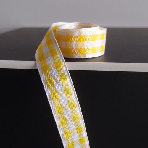 Yellow & White Gingham Checkered Ribbon