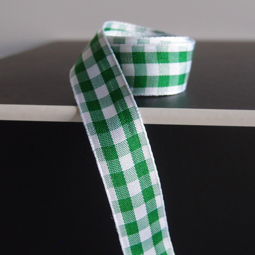 Hunter Green & White Gingham Checkered Ribbon