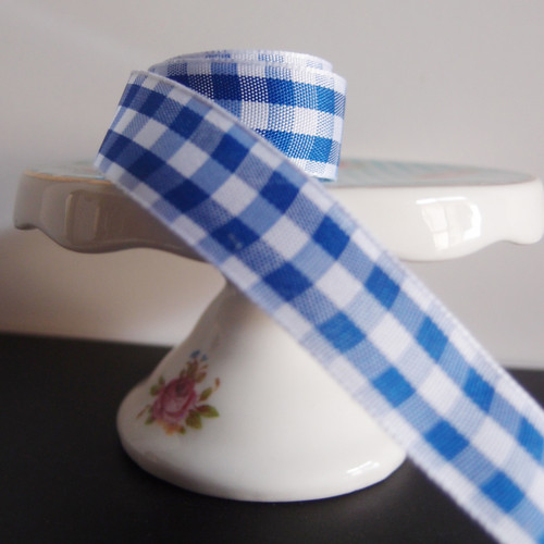 Royal Blue & White Gingham Checkered Ribbon