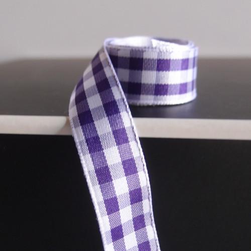Purple & White Gingham Checkered Ribbon