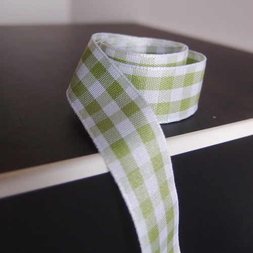 Mint and White Gingham Checkered  Ribbon