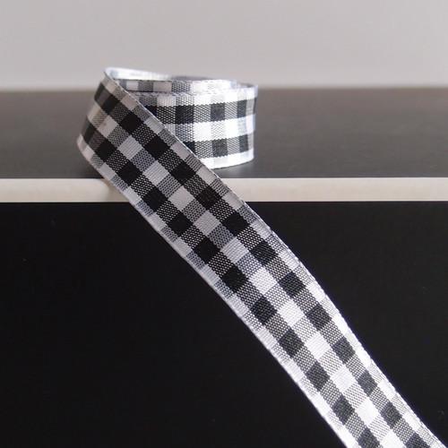 Black & White Gingham Checkered Ribbon