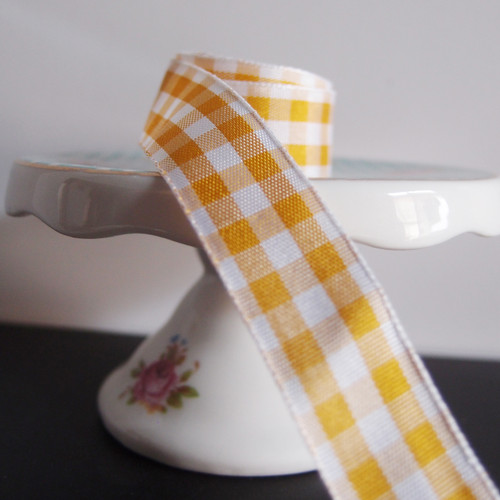 Copper & White Gingham Checkered Ribbon